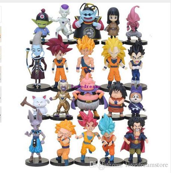20pcs/set Dragon Ball Z Super Saiyan Son Goku Vegeta Buu Freeza Beerus PVC Action Figures Model Toy Phone Accessories