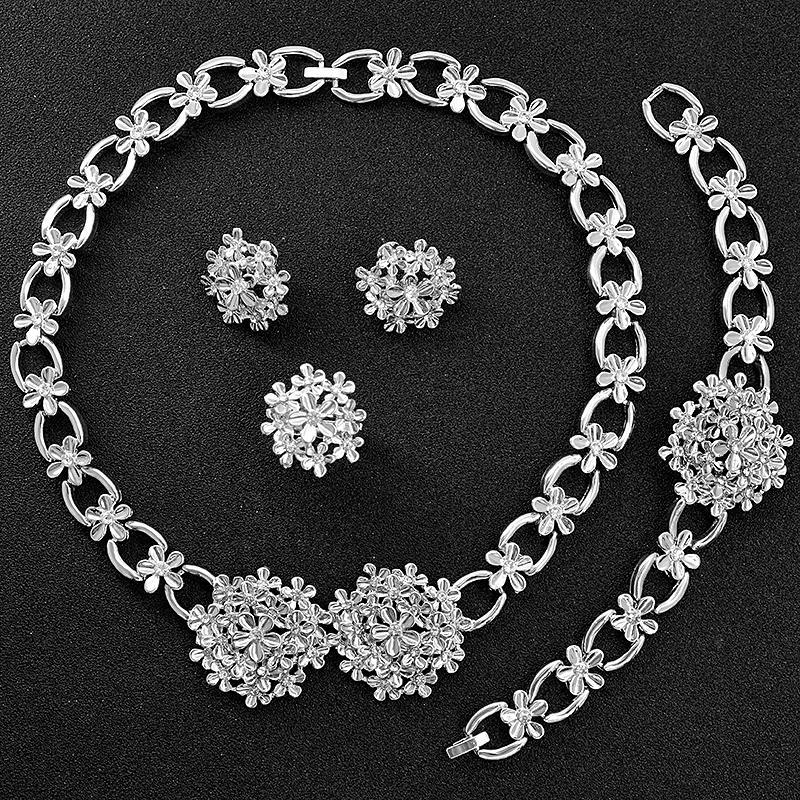 Soleggiato Jewelry Romantico Jewelry Zirconia cubico rotondo nuziale fiore set da sposa per la collana orecchini delle donne dell'anello del braccialetto