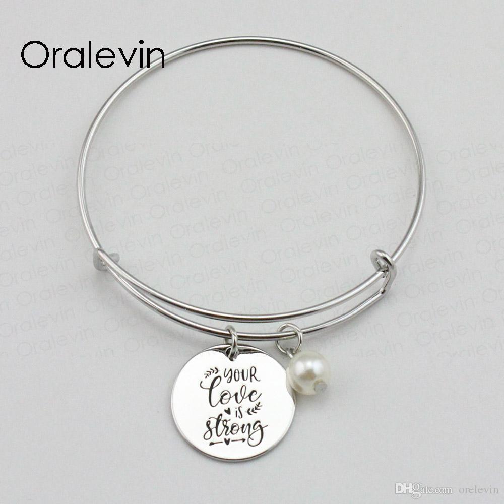 Ваша любовь является сильным вдохновляющим рука штампованные выгравированы кулон расширяемый браслет Браслет серебряный цвет ювелирных изделий, 10 шт. / лот, #LN2093B