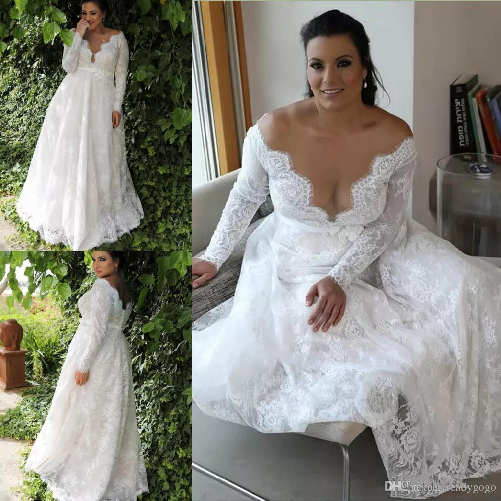 Garden Country Full Lace Plus Size A line Wedding Dresses 2018 Long Sleeves Sexy Illusion Jewel Neck Formal Bridal Gowns For Bride
