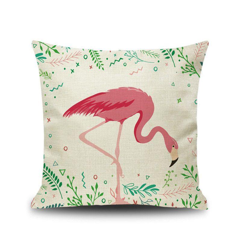 Flamingo estilo dos desenhos animados fronha Pássaros Coloridos Folha fronha Praça Fronhas bonito Cushion Impressão animal Tampa caçoa o presente