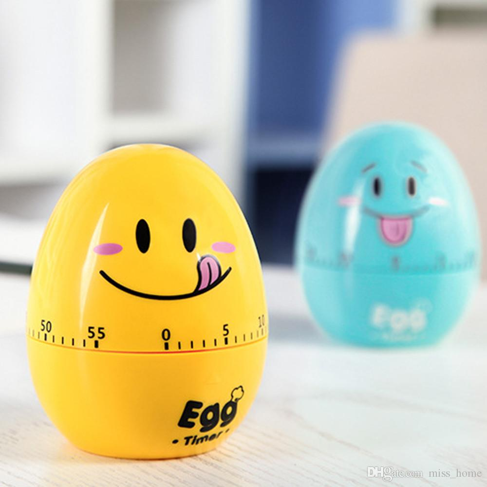 Lovely Beautiful Cartoon Egg Timer Plastic Emoji Eggs Shaped Kitchen Mechanical Alarm Clock 60 Minute Convenient to Cook