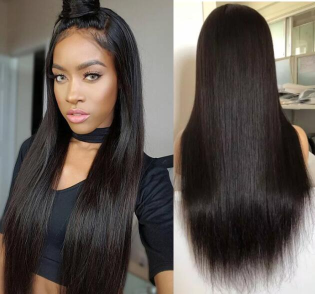 Full Lace with PU around Wigs Malaysian Human Hair Straight Hair Full Lace with Thin Skin Perimeter Wig for Black Woman Free Shipping
