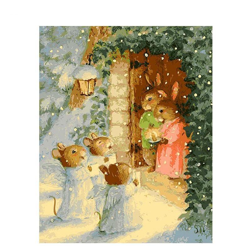 Coniglio di Natale senza cornice Dipinto fai da te con i numeri Kit da colorare con i numeri Regalo unico per la decorazione della casa Arte della parete 40x50