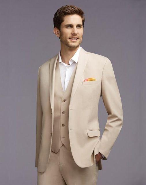 Новое прибытие Мужские костюмы бежевый свадебные костюмы для мужчин Зубчатый отворот Женихи Tuxedos Два Groomsmen Button