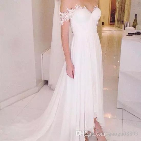 Real Modest High Low Country beach Wedding Dresses 2019 off shoulder Sweetheart chiffon corset Fitted Hi-lo White short Bride Bridal Gowns