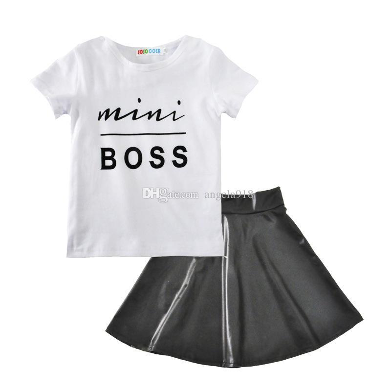 2 اساليب الطفل الفتيات ملابس 2018 الصيف الاطفال بوس إلكتروني تي شيرت + تنورة PU 2PCS / SET القطن الأطفال بوتيك الملابس مجموعات H001