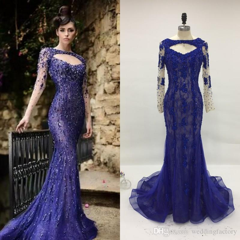 Rami Salamoun Elegant Evening Gowns Red Carpet Prom Dresses Real Image Mermaid Long Sleeve Backless Lace Sequins Beaded Pageant Dress