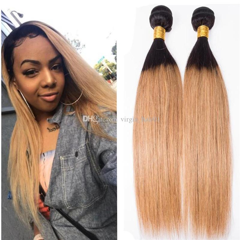 Peruvian Virgin Straight Ombre Weave Bundles Dark Root Honey Blonde Human Hair Extensions Colored 1B 27 Straight 3Bundles For Sale