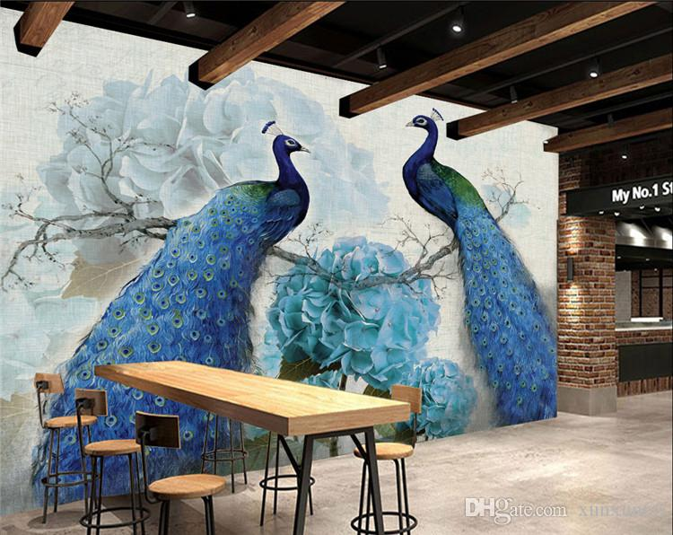 Oil painting retro peacock rich background wall folding screen cut off fashionable living room entrance Chinese office hotel