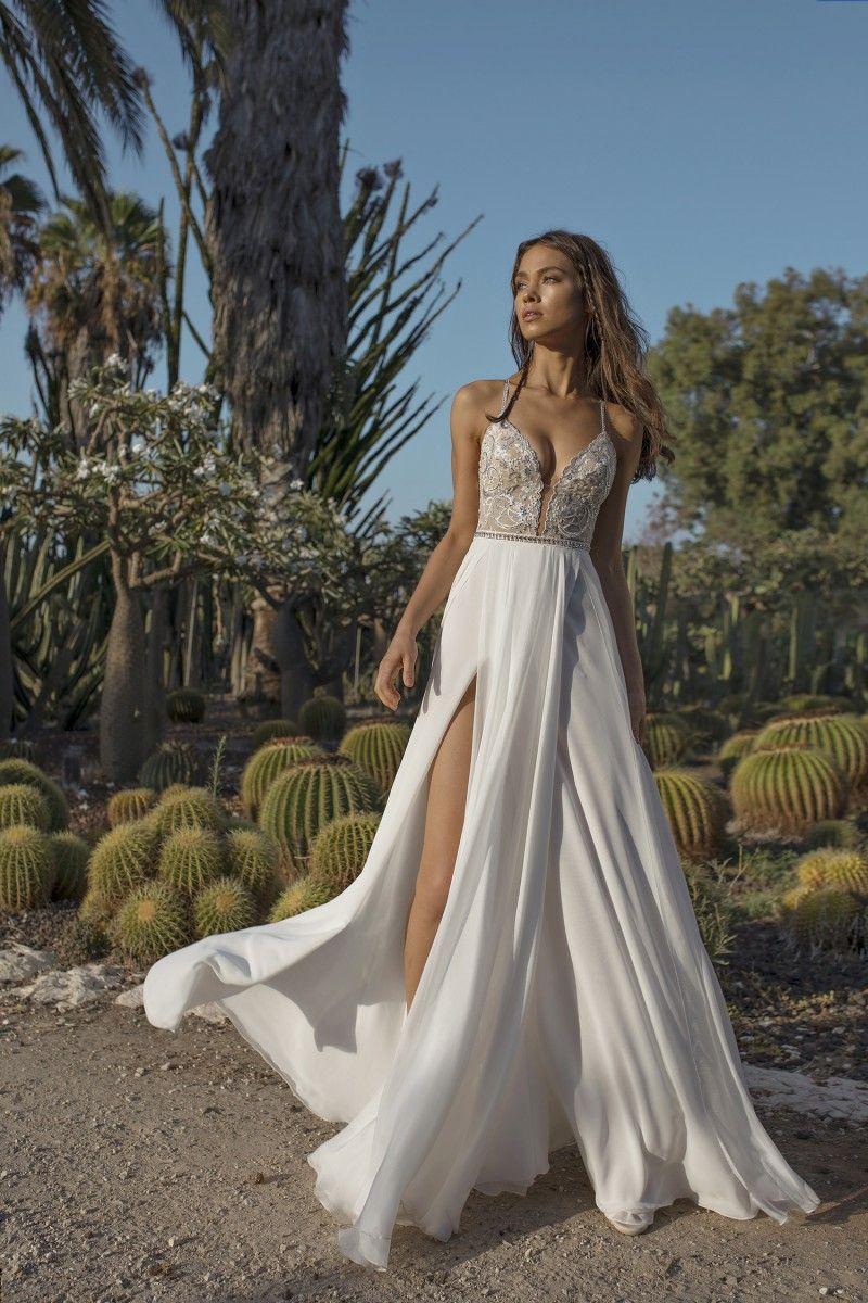 Asaf Dadush 2020 vestidos de boda de playa de los vestidos sin espalda del lado alto de Split barato de novia Una línea de gasa más el tamaño de vestido de novia