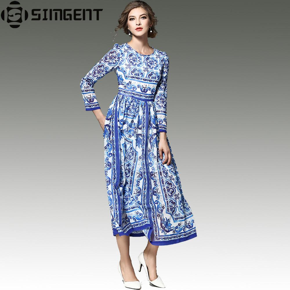 Simgent Womens Blue and White Porcelan Drukowane Ruched Elegancka O-Neck Flared Runway Long Spring Dress Women 2017 Moda Feminina
