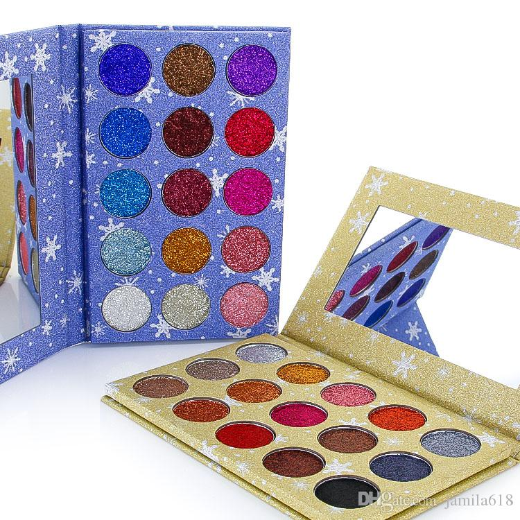 Wholesale 15 Colors Pressed Glitter Makeup Eyeshadow Palette Diamond shine Glitter eyeshadows Make up pigmented Eye Shadow Palettes
