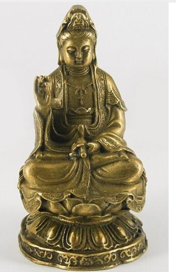 Lotus Heykeli Üzerinde oturan Kwan Yin Kuan yin Bronz Heykelcik