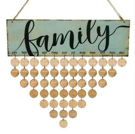 Holz Familie Birthday Reminder Kalender DIY Wandbehang Sonder Datum Planer Zeichen-Brett-Dekor-Plakette Geschenk Material Escolar