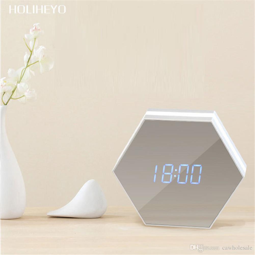 Çok fonksiyonlu Ayna Çalar Saat Şarj Edilebilir Akıllı Saat / Alarm ile Led Dijital Alarm için çalışma, yatak odası, salon, ofis