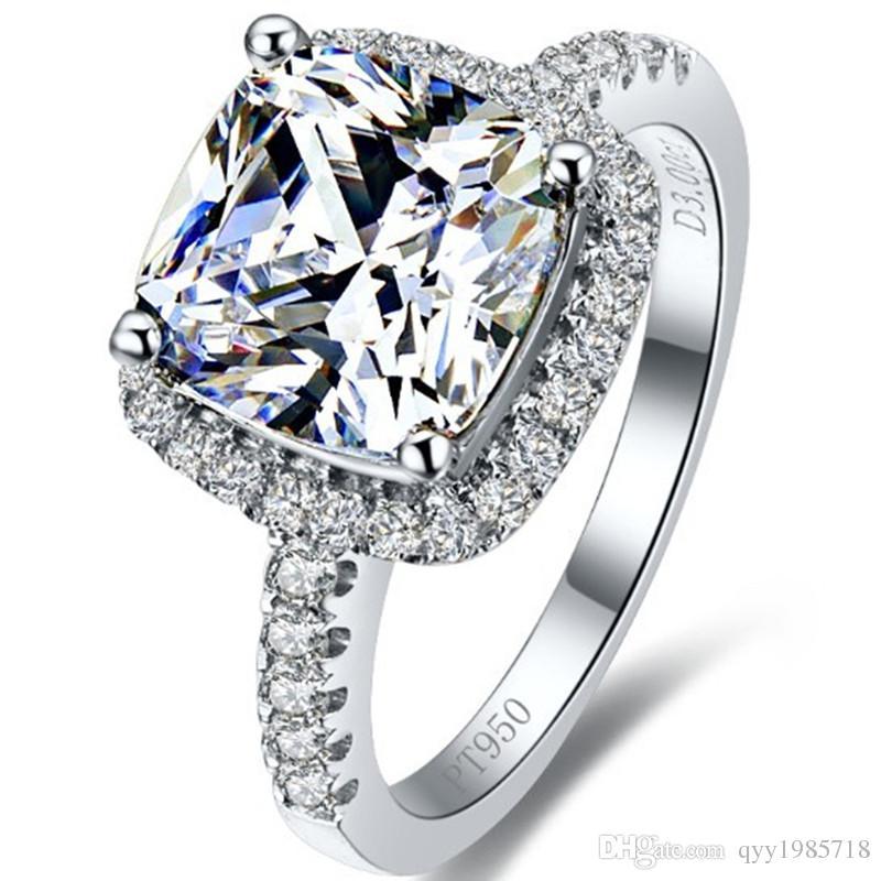 الجملة 2CT خاتم الزواج سونا الماس الاصطناعية وسادة ممتازة الأميرة قص الأبيض شهادة 925 الفضة الاسترليني البلاتين