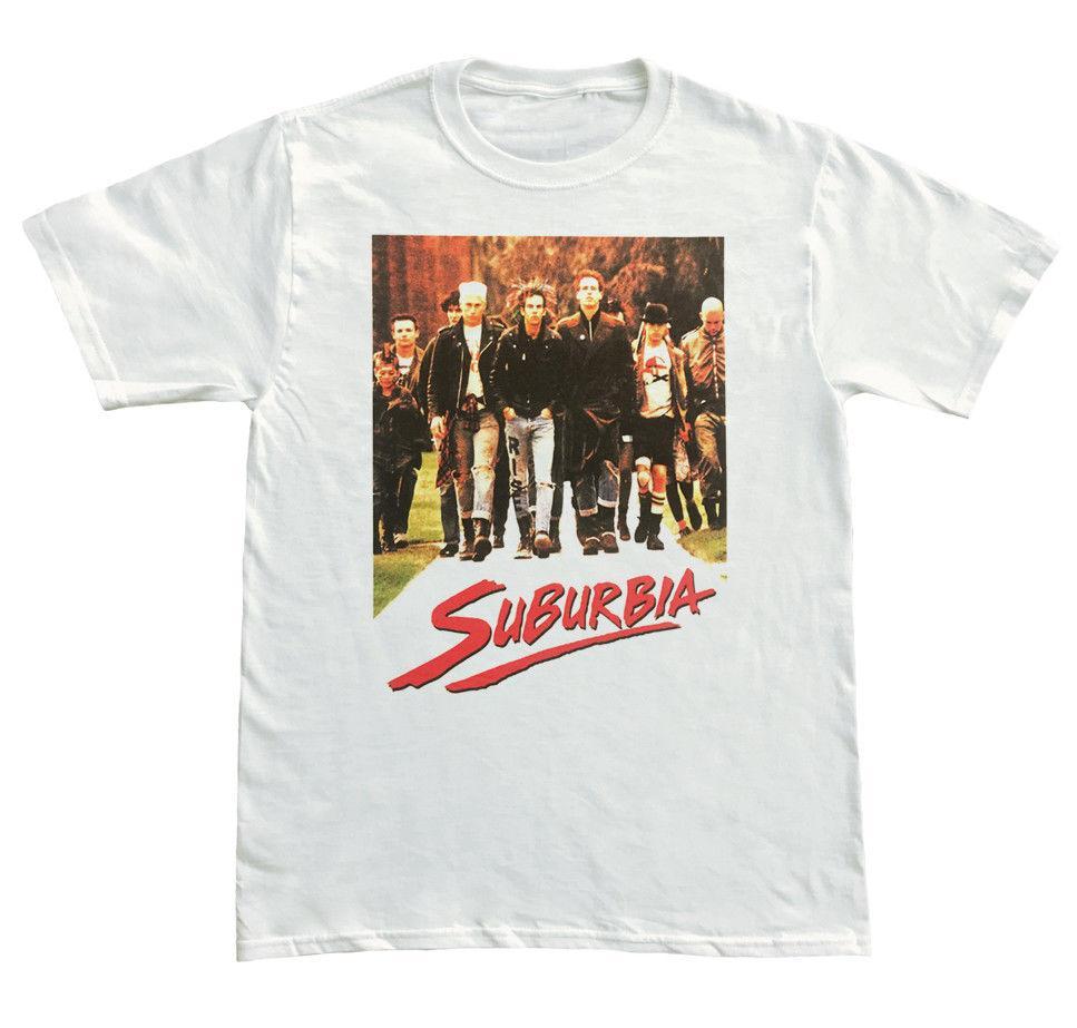 Suburbia Filme Mens Punk Branco T Shirt Novo S M L XL 2XL 3XL Camisas Homme Novidade T camisas Homens