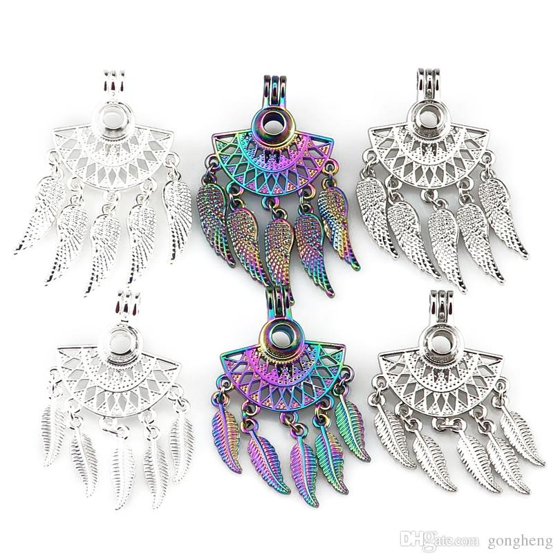 6pcs/lot Mix Three Kinds Of Color Fan shapes Filigree Leaf Bohemia Pendant Pearl Locket Essential Oil Diffuser Beauty Gift