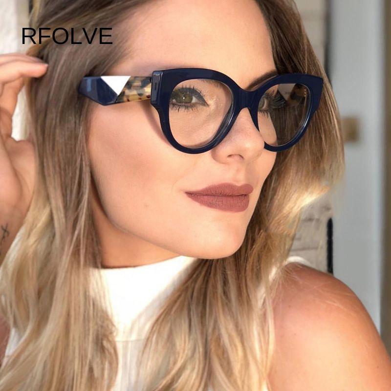 Fashion Square RFOLVE Óculos Mulheres Marca Preto Leopard rosa óculos de armação de alta qualidade Limpar Lens Óculos UV400 Goggles R8766