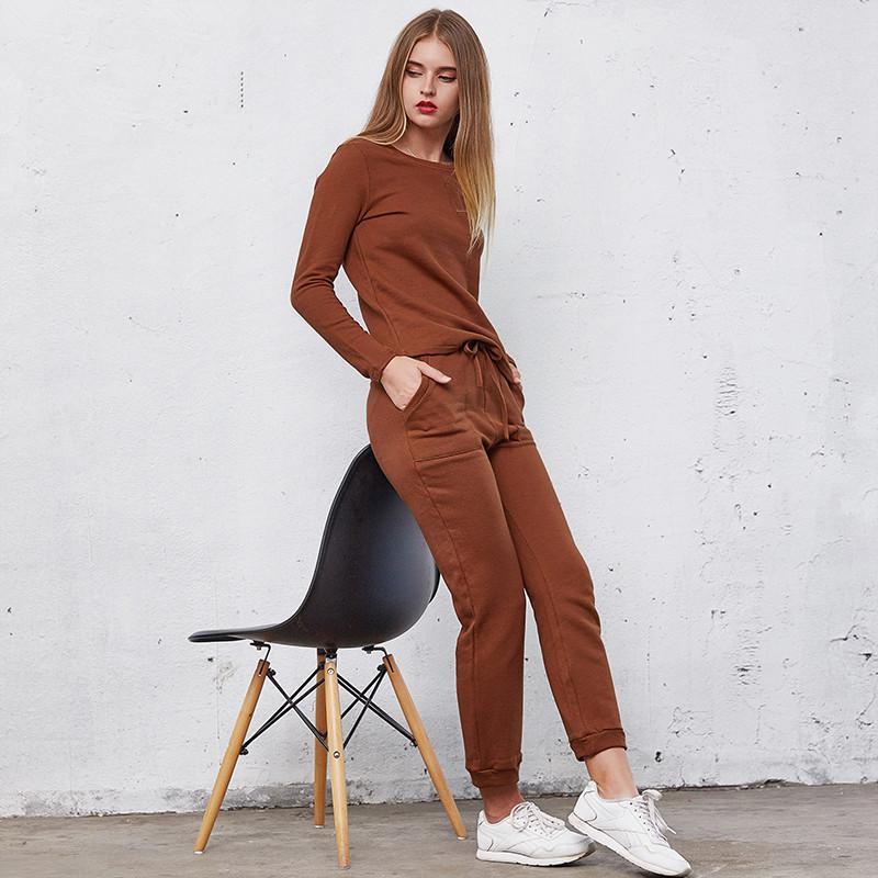Casual Womens Treino Define Dois Inverno conjuntos de peças Brown manga comprida camisola e calças compridas Fatos fêmeas
