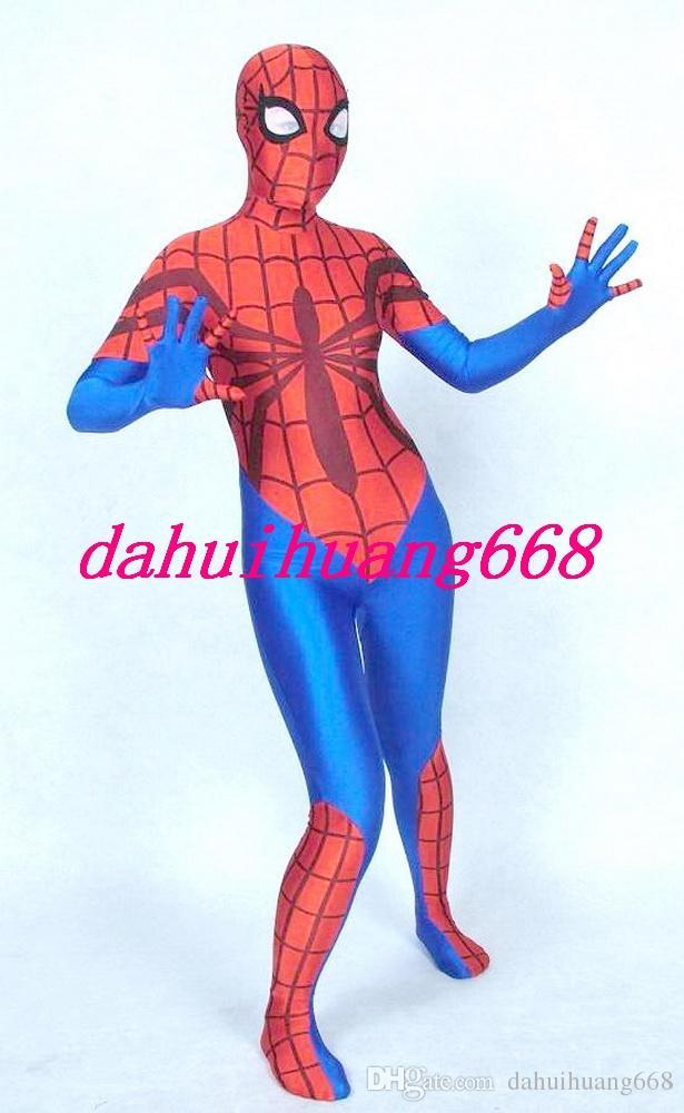 Unisex Kırmızı / Mavi Likra Spandex Örümcek Adam Suit Catsuit Kostümleri Unisex Örümcek Adam Kostümleri Cadılar Bayramı Partisi Fantezi Elbise Cosplay Kostümleri DH281