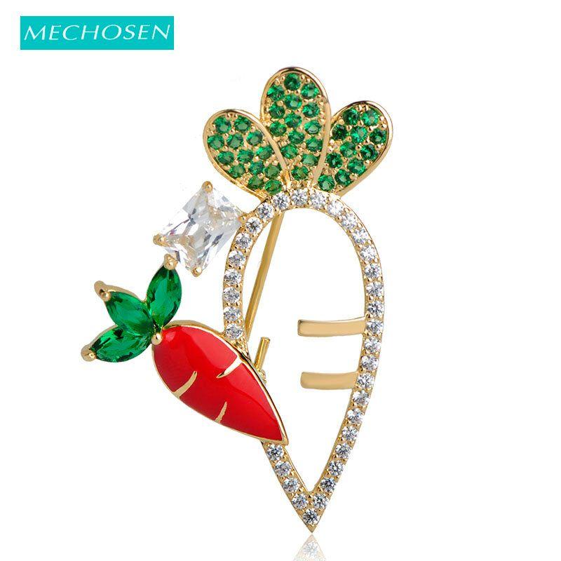 Großhandel lebendige rote Rettich Broschen für Frauen Prong Einstellung grün Zirkonia Emaille Brosche Pins Kleid Hut Schal Clips Dekorationen