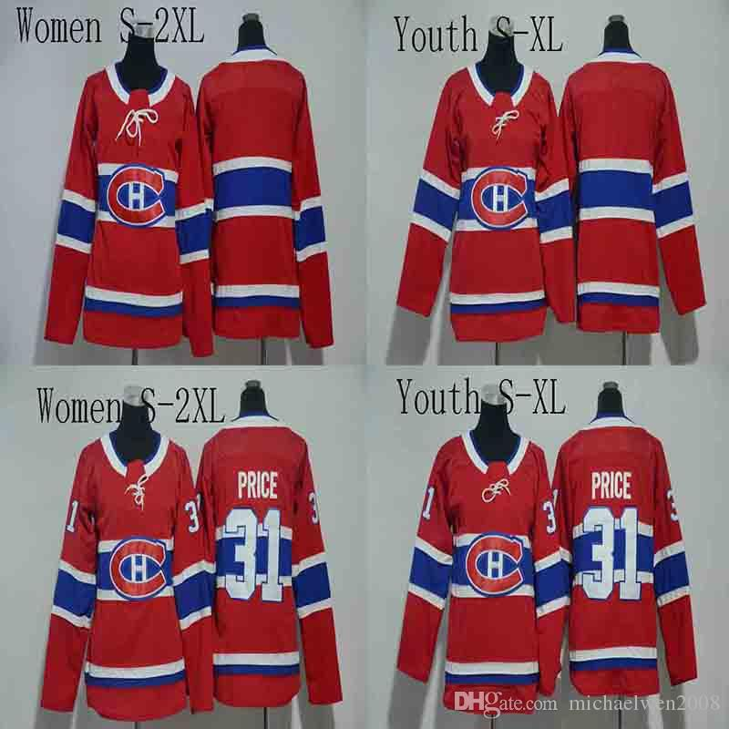 Women Youth 31 Carey Price Jersey 2017-2018 Season Montreal Canadiens Blank No Name No Number Hockey Jerseys Cheap