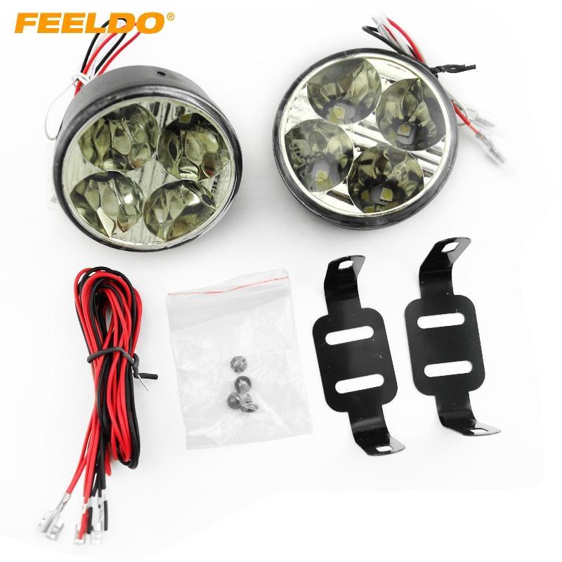 FEELDO 자동차 4 LED 5050 라운드 주간 러닝 라이트 DRL 자동 ON / OFF 스위치 # 2899