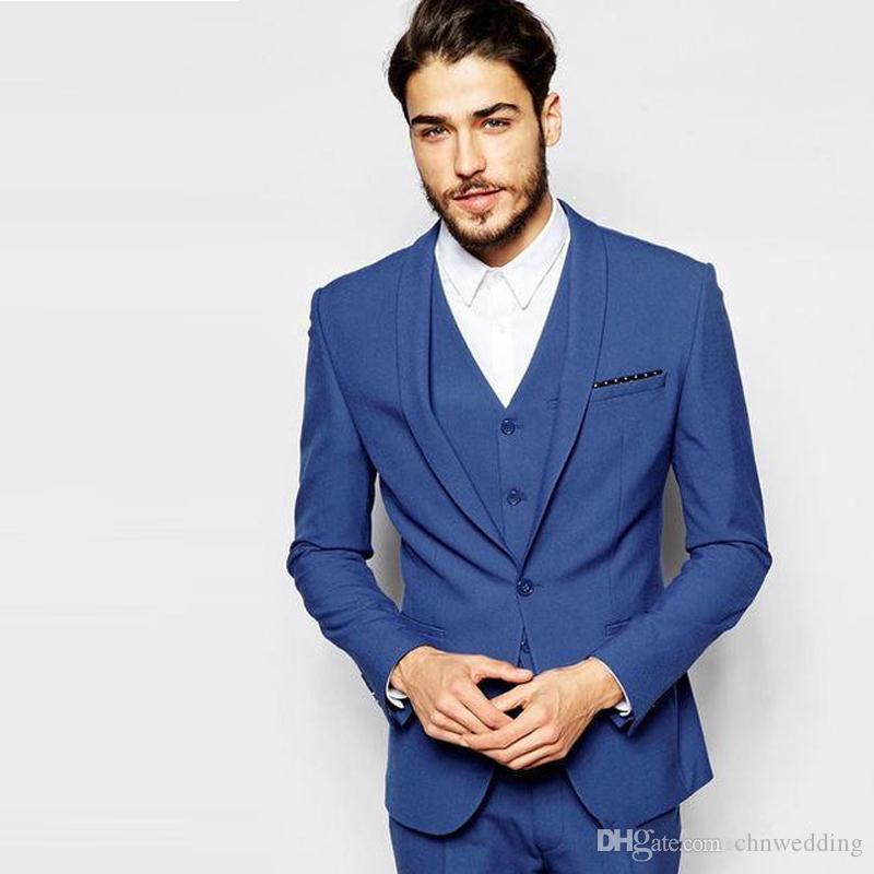 Azul Royal Slim Fit Casamento Homens Ternos 3 Peças (Jacket + Pants + Vest) Noivo Smoking Noivo Ternos Do Noivo Melhor Homem Blazer