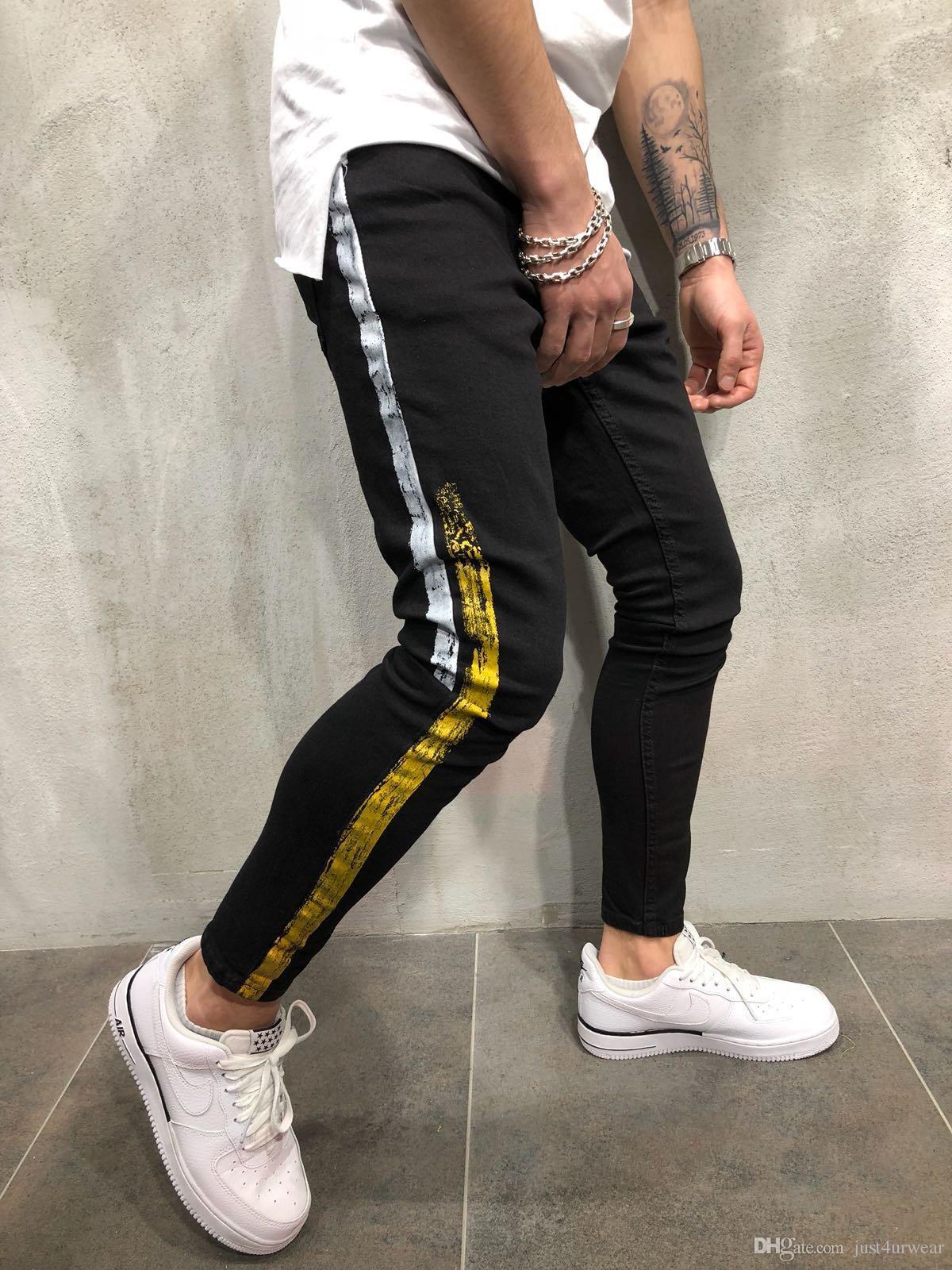 Mens Fashion High Street Slim Jeans Pantalons Pantalons Crayon Homme Side rayé design Washed Jeans Hommes Hip Hop Denim Jeans Pantalons