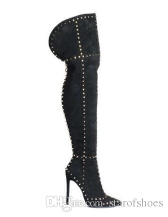 New Fashion Women Pointed Toe Suede Leather Over Knee Rivet Gladiator Boots Thin High Thigh Long High Heel Boots Dress Shoes
