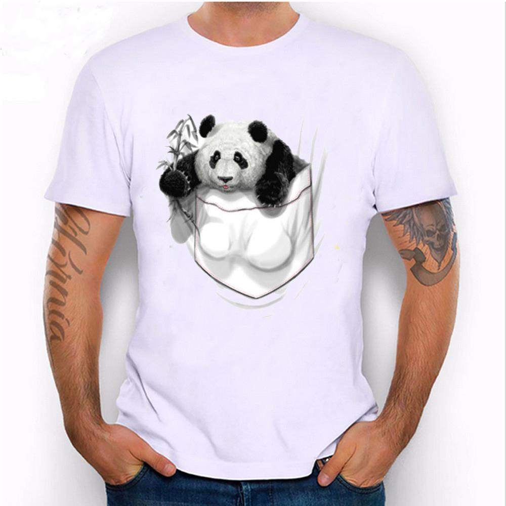 2018 Nuevos hombres de la moda de manga corta Cofre grande Panda Pocket T Shirt Diseño divertido del ABS Diseño Hombre Camisetas Casual Hombre Hipster
