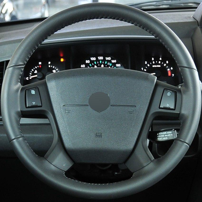 Siyah Hakiki Deri DIY El-dikişli Araba Direksiyon Kapağı Dodge Journey 2009-2011 için