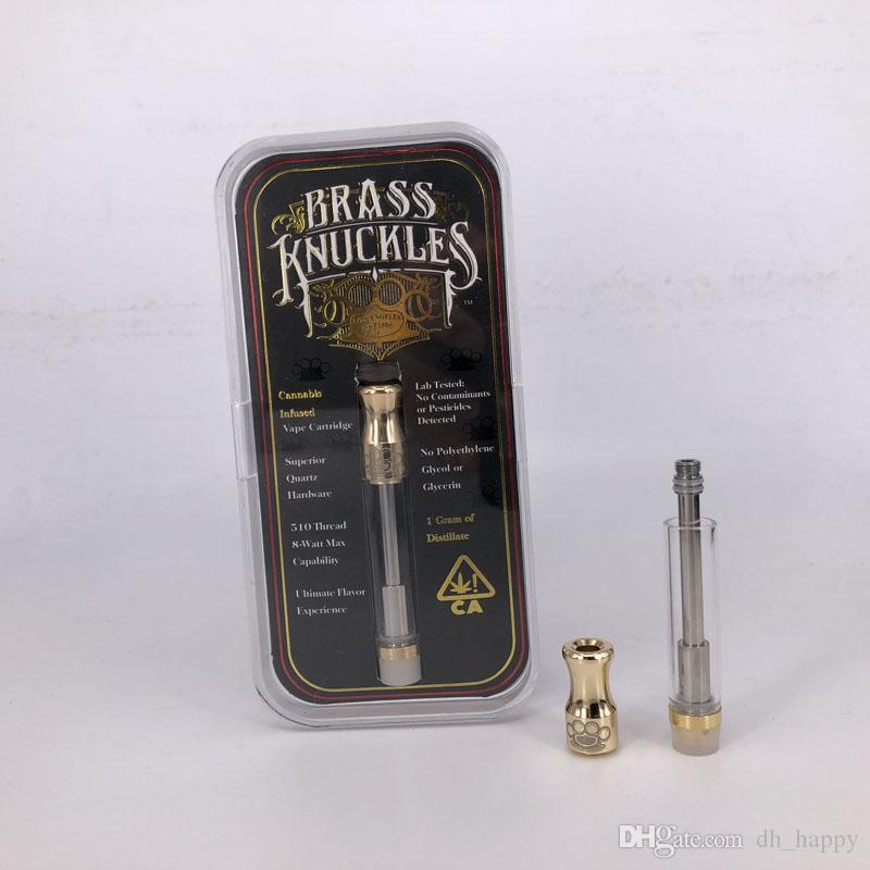 Acrylic box packing Brass Knuckles Cartridge Thick Oil 510 Vape Gold Cartridges 92A3 G2 Dual Cotton Coils Atomizer disposable Vaporizer 1ml