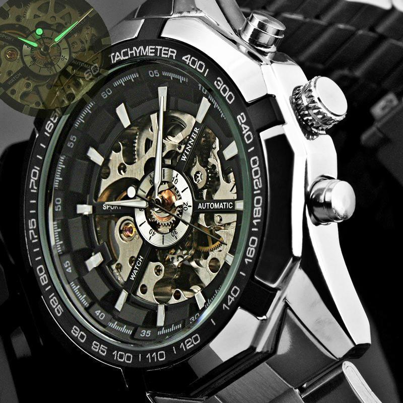 VENCEDOR Relógio Automático dos homens Clássicos Esqueleto Mecânico Transparente Relógios FORSINING Relógio Relogio masculino Com Caixa