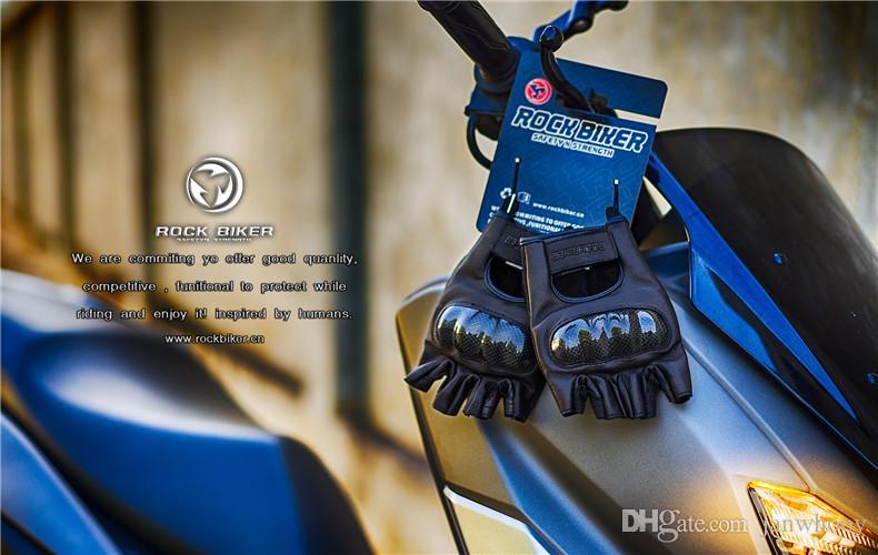 ROCK BIKER Carbo Fiber جلد طبيعي دراجة نارية قفازات خمر الدراجات موتوكروس Motorbiker نصف اصبع حماية قفازات