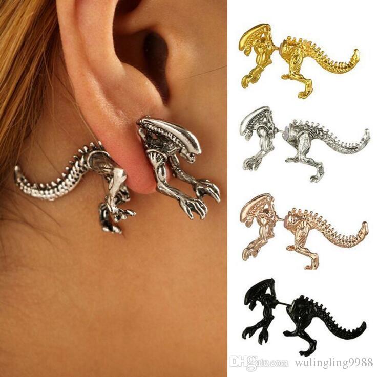 5 colores Alien Pendientes Stud Antique Dragon Alien Piercing Pendientes Ear Cuffs Mujeres Hombres Dinosaur Pendientes joyería de moda regalos