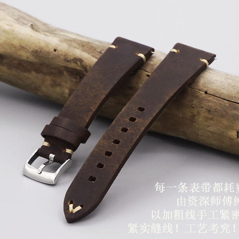정품 가죽 스트랩 20mm 시계 액세서리 남자 Watchband 스트랩에 대 한 높은 품질 빈티지 어두운 갈색