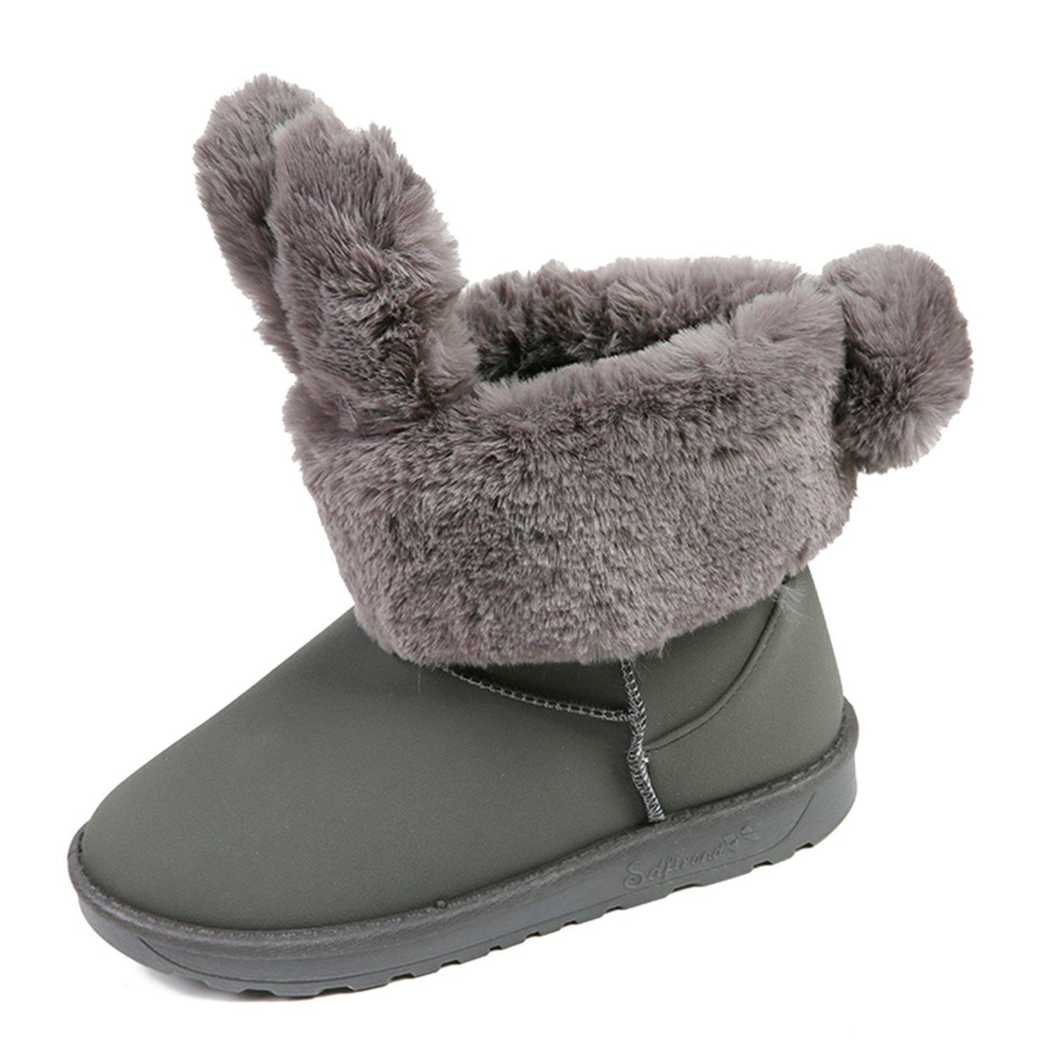 Girl's Womens Winter Fur Lining Cute Rabbit Cozy Warm Suede Snow Boots for Christmas Gift