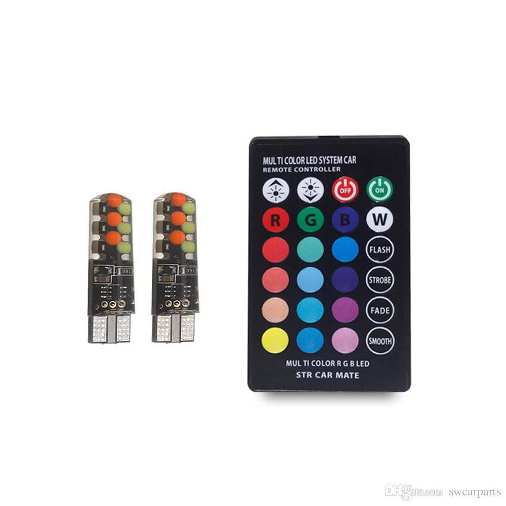 T10 W5W Luz de lectura de la cúpula del coche 194 168 Automóviles Lámpara de separación de la cumbrera RGB Bombilla LED estroboscópica con control remoto