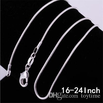Оптовая продажа-Новый 2 мм змея Chian 16 дюймов-24 дюймов посеребренная классический гладкая змея цепи ожерелье Омаров замочки цепи для женщин