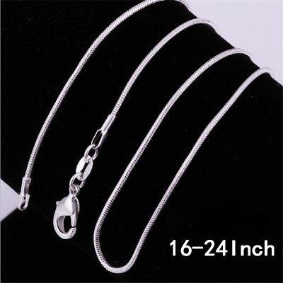 Al por mayor-Nueva 2MM serpiente Chian 16 pulgadas-24 pulgadas plateado clásico cadenas de serpiente suaves collar de langosta corchetes cadena para mujer