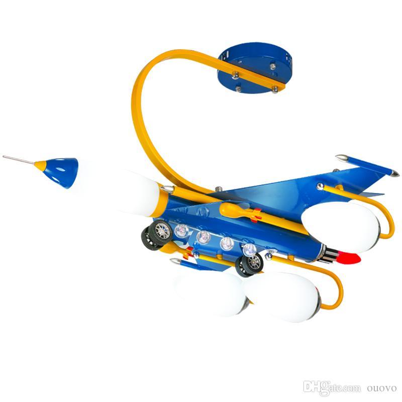 جديد الحديثة led الهواء طائرة الأطفال نوم مصابيح السقف دراسة غرفة كيد الطفل الأزرق رسمت المعادن طائرة مصباح السقف ضوء غرفة الطفل الصبي