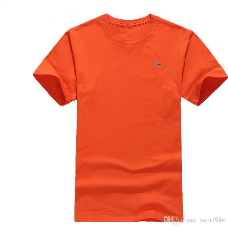 2021 뜨거운 브랜드 여름 캐주얼 새로운 남성용 짧은 소매 티셔츠 100 % 코튼 탑스 티스 오 넥 하모트 블레인 자수 티셔츠