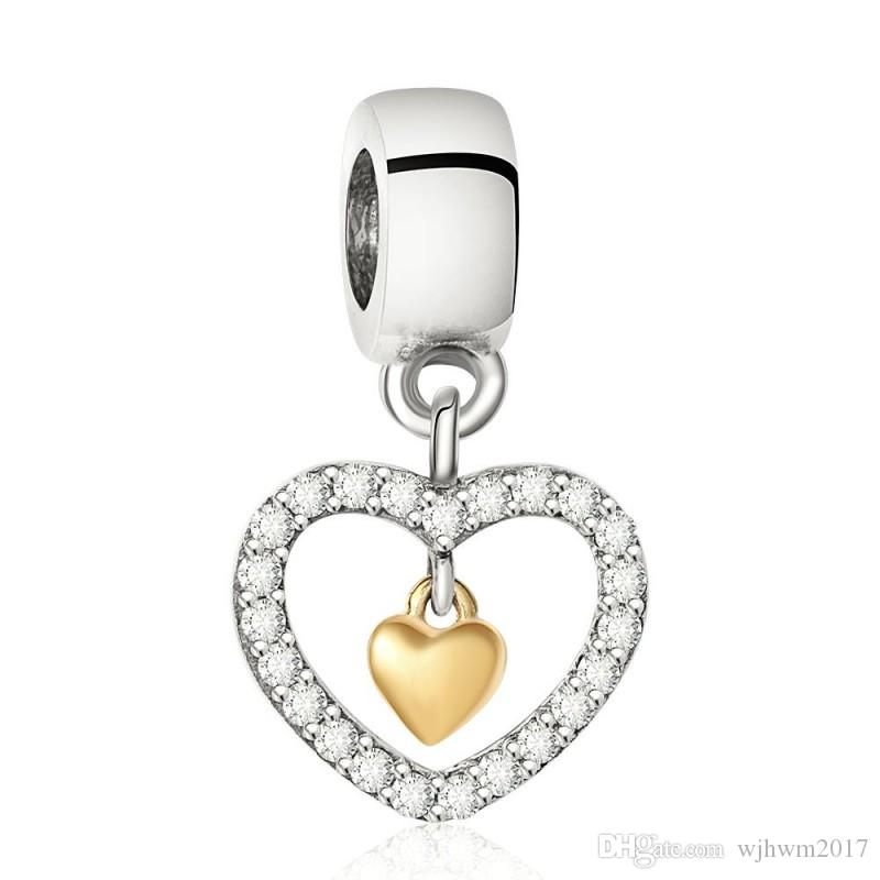 Sparkling Heart Charm Bead 925 Sterling Silver Jewelry Little Heart Inside with Gold Plated Charm For DIY Brand Bracelets Making Accessories