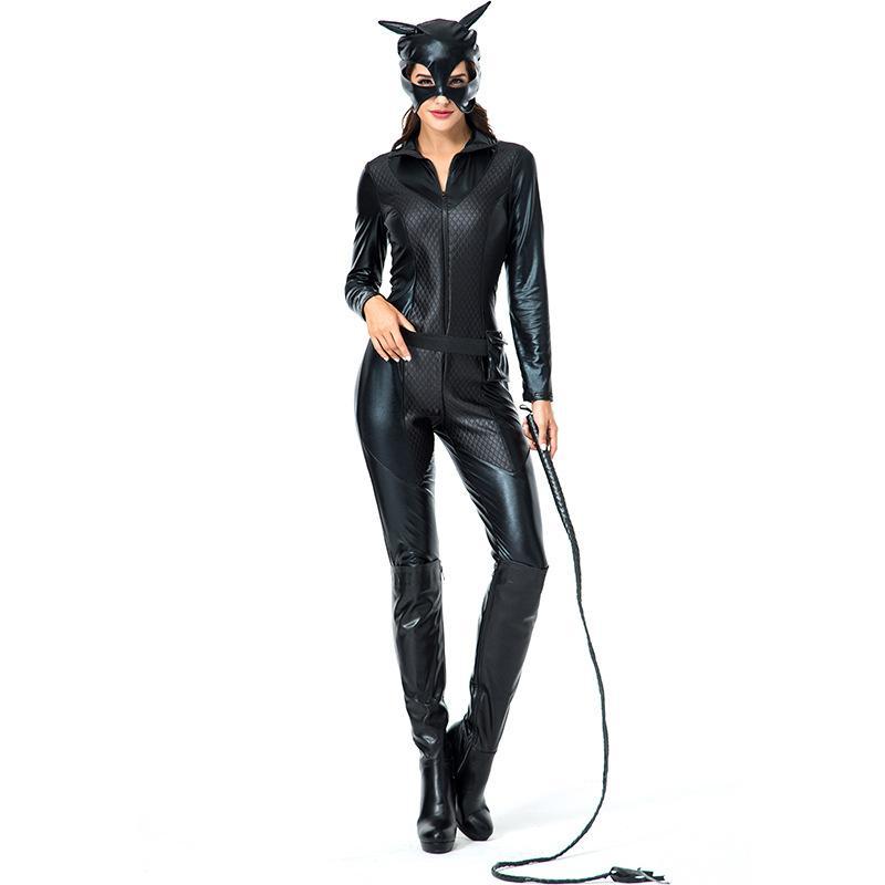New Women Cat Suit Faux Leather Cat Women Jumpsuits Black Stretch PVC Bodysuits Sexy Bodycon One-pieces Lingerie