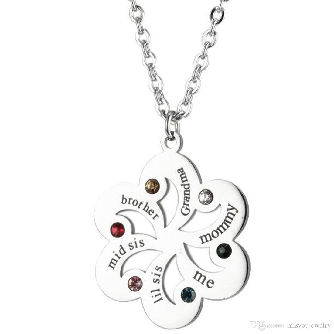 Stainless Silver Birthstone Pendant Engraved name Jewelry Circle flower Necklace - Custom Made Pendant Any Name for family