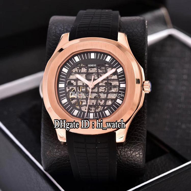 New Nautilus Classic 5711 oro rosa nero scheletro globo quadrante A2813 Mens automatico orologio nero gomma sportivo orologi economici Hi_watch P306d4