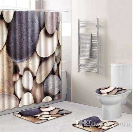 NEW vendas quentes 8 Tipos 4pcs de Banho Non-Slip Pedestal Rug + tampa da sanita cortina do chuveiro Tampa + Bath Mat +